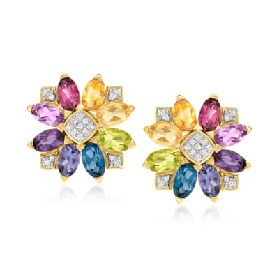 2.90 ct. t.w. Multi-Gemstone and .10 ct. t.w. Diamond Flower Earrings in 18kt Gold Over Sterling