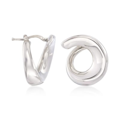 Italian Sterling Silver Swirl Hoop Earrings