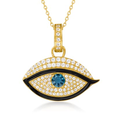 1.50 ct. t.w. London Blue and White Topaz Evil Eye Pendant Necklace with Black Enamel in 18kt Gold Over Sterling
