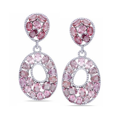 33.75 ct. t.w. Pink Tourmaline and 1.48 ct. t.w. Diamond Drop Earrings in 14kt White Gold