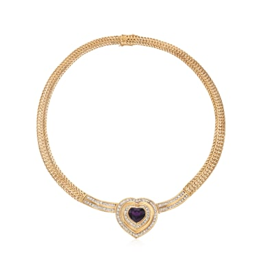 C. 1980 Vintage 7.30 Carat Heart-Shaped Amethyst and 4.25 ct. t.w. Diamond Necklace in 18kt Yellow Gold