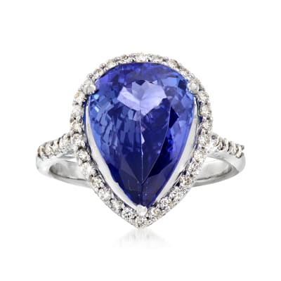 5.25 Carat Pear-Shaped Tanzanite and .40 ct. t.w. Diamond Ring in 14kt White Gold