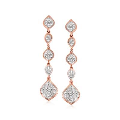 .25 ct. t.w. Diamond Multi-Shape Cluster Drop Earrings in 14kt Rose Gold