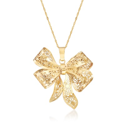 Italian 14kt Yellow Gold Filigree Bow Pendant Necklace