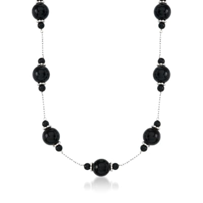 4-10mm Black Onyx Bead Station Necklace in Sterling Silver