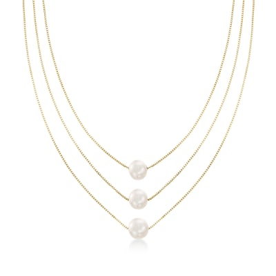 9-9.5mm Cultured Pearl Three-Strand Layered Necklace in 18kt Gold Over Sterling