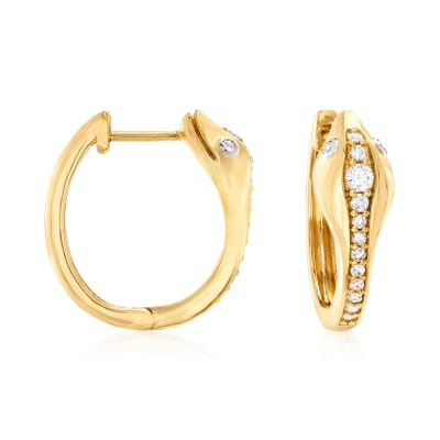 .30 ct. t.w. Diamond Snake Hoop Earrings in 18kt Gold Over Sterling Silver