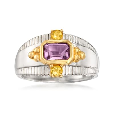.70 Carat Amethyst and .10 ct. t.w. Citrine Ring in Two-Tone Sterling Silver