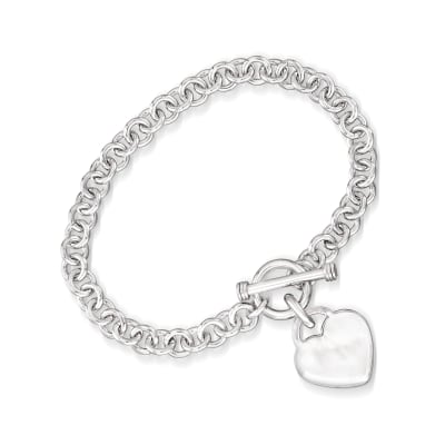 Sterling Silver Personalized Heart Toggle Bracelet
