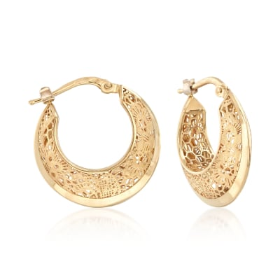 Italian 18kt Yellow Gold Floral Openwork Hoop Earrings