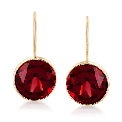 4.20 ct. t.w. Garnet Drop Earrings in 14kt Yellow Gold
