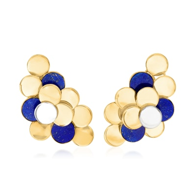 C. 1970 Vintage Lapis Disc Cluster Earrings in 18kt Yellow Gold