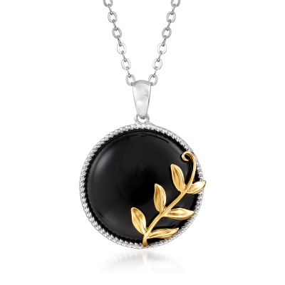 Black Onyx Pendant Necklace in Sterling Silver with 14kt Yellow Gold