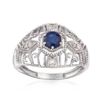 .50 Carat Sapphire and .10 ct. t.w. Diamond Ring in Sterling Silver