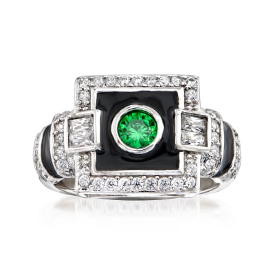 .23 Carat Simulated Emerald and .65 ct. t.w. CZ Art Deco Ring with Black Enamel in Sterling Silver