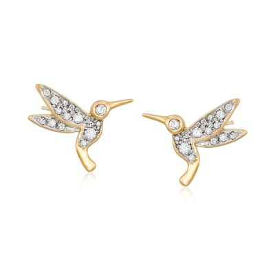 .30 ct. t.w. Diamond Hummingbird Stud Earrings in 18kt Gold Over Sterling
