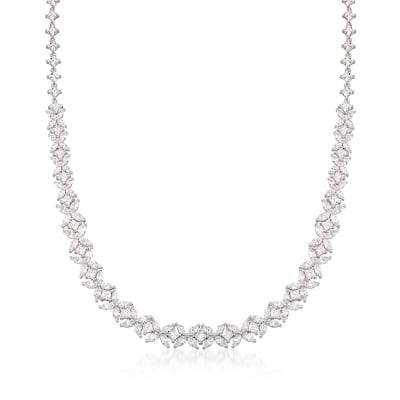 22.70 ct. t.w. CZ Floral Necklace in Sterling Silver