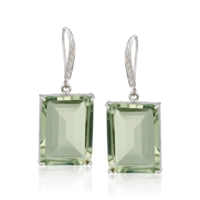 31.00 ct. t.w. Prasiolite and .10 ct. t.w. Diamond Drop Earrings in Sterling Silver