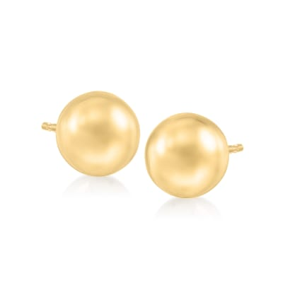 Italian 8mm 18kt Yellow Gold Ball Stud Earrings