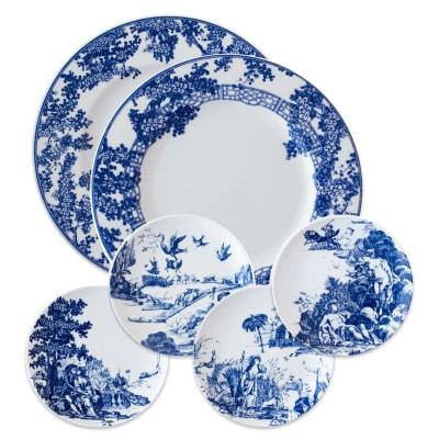 "Caskata ""Toile Tales"" Blue and White Porcelain Dinnerware"