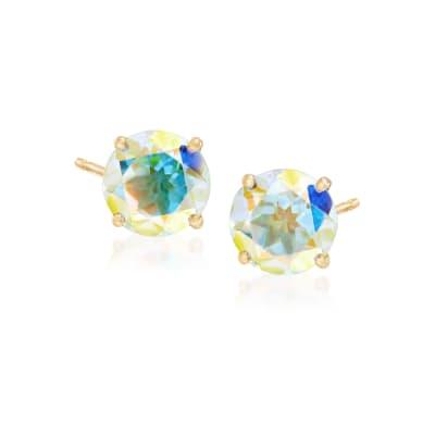3.00 ct. t.w. Multicolored Mercury Mist Topaz Post Earrings in 14kt Yellow Gold