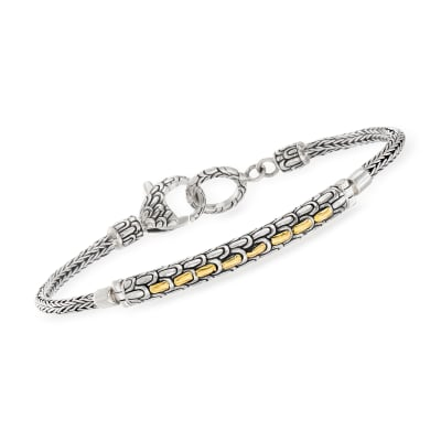 Sterling Silver and 18kt Yellow Gold Curved Bar Bracelet