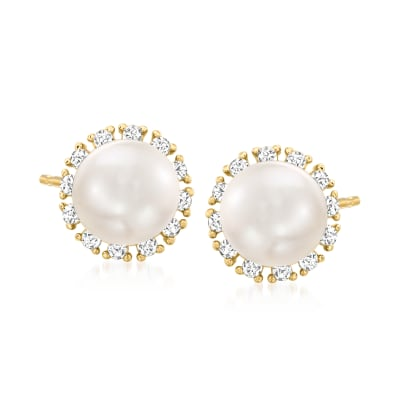 Child's 5-5.mm Cultured Pearl and .10 ct. t.w. CZ Earrings in 14kt Yellow Gold