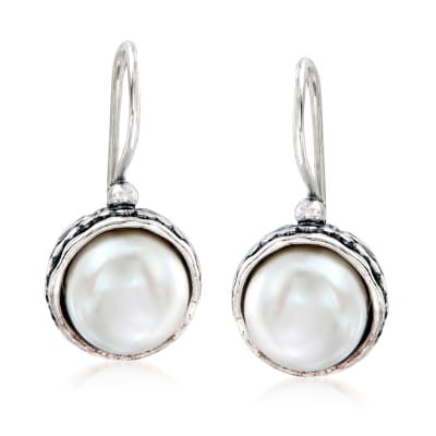 9.5-10mm Cultured Pearl Drop Earrings in Sterling Silver