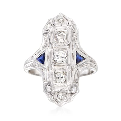 C. 1950 Vintage .50 ct. t.w. Diamond and .10 ct. t.w. Synthetic Sapphire Ring in 18kt White Gold