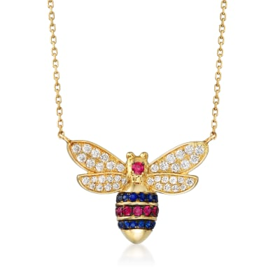 .47 ct. t.w. Diamond, .20 ct. t.w. Ruby and .20 ct. t.w. Sapphire Bee Necklace in 14kt Yellow Gold