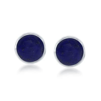 Bezel-Set Lapis Earrings in Sterling Silver
