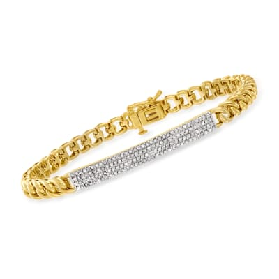 .50 ct. t.w. Diamond Bar-Link Bracelet in 18kt Gold Over Sterling
