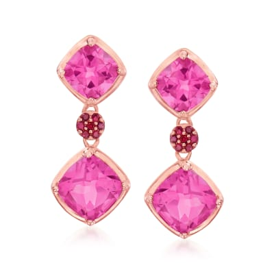 5.40 ct. t.w. Pink Topaz Drop Earrings with .10 ct. t.w. Rubies in 18kt Rose Gold Over Sterling