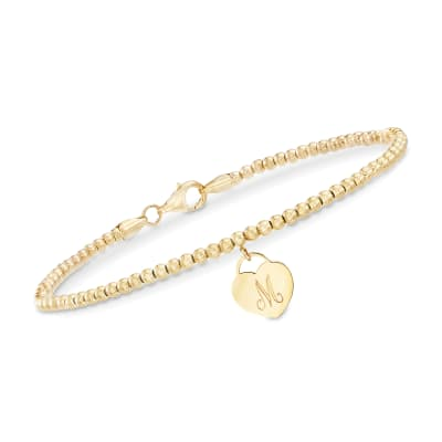 14kt Yellow Gold Bead Bracelet with Engravable Heart Charm
