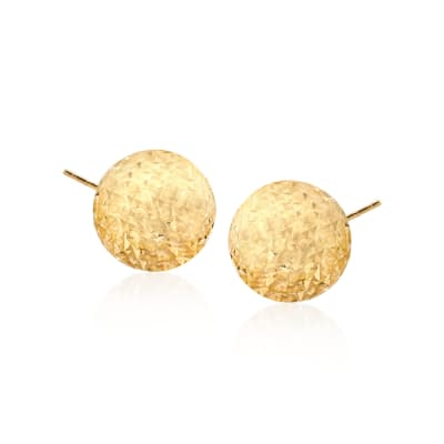 14kt Yellow Gold Diamond-Cut Dome Stud Earrings