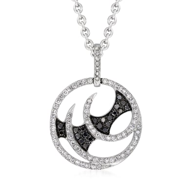 """C. 2012 Vintage Stephen Webster """"Fly by Night"""" .95 ct. t.w. Black and White Diamond Swirl Pendant Necklace in 18kt White Gold with British Hallmark"""