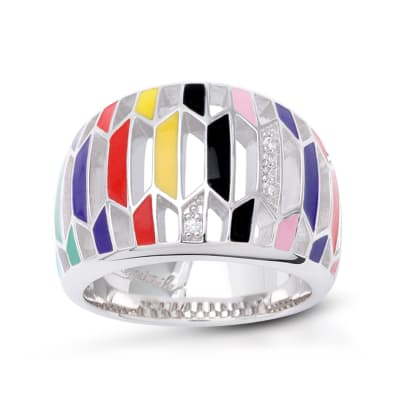 "Belle Etoile ""Trapezio"" Multicolored Enamel Ring with CZ Accents in Sterling Silver"