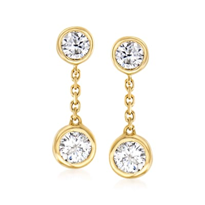.40 ct. t.w. Bezel-Set Diamond Drop Earrings in 14kt Yellow Gold