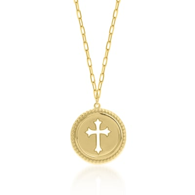 14kt Yellow Gold Cut-Out Cross Medallion Adjustable Necklace