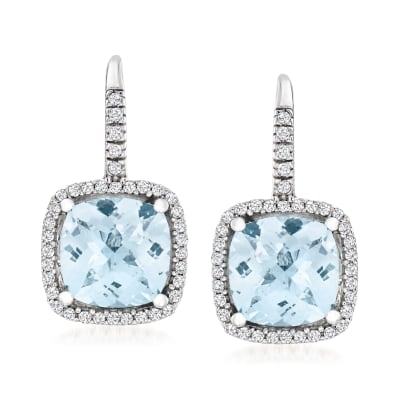 6.00 ct. t.w. Aquamarine Drop Earrings with .39 ct. t.w. Diamonds in 14kt White Gold
