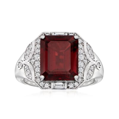 6.30 Carat Garnet Ring with .38 ct. t.w. Diamonds in 18kt White Gold