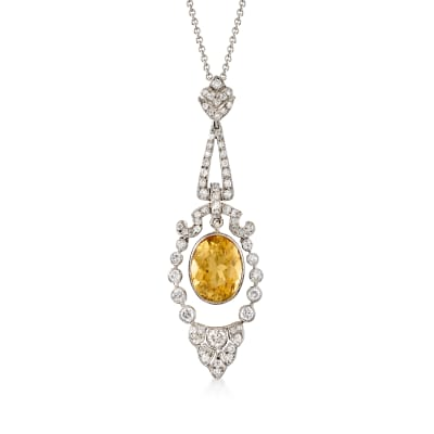 C. 1990 Vintage 4.50 Carat Citrine and 1.00 ct. t.w. Diamond Pendant Necklace in 18kt and 14kt White Gold