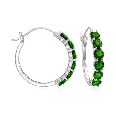 4.80 ct. t.w. Green Chrome Diopside Hoop Earrings in Sterling Silver