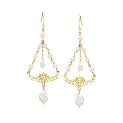 3-9mm Cultured Pearl Lotus Chandelier Earrings in 18kt Gold Over Sterling