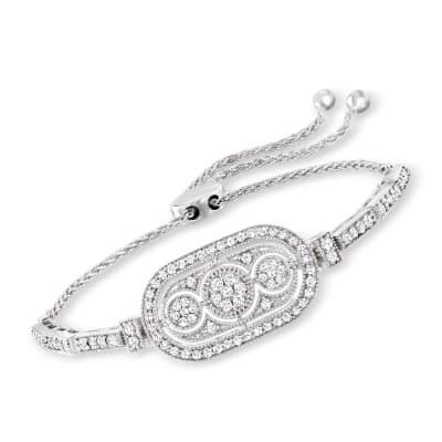 1.50 ct. t.w. Diamond Bolo Bracelet in Sterling Silver