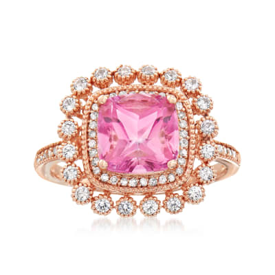 2.90 Carat Pink Topaz and .40 ct. t.w. White Sapphire Ring with .12 ct. t.w. Diamonds in 14kt Rose Gold