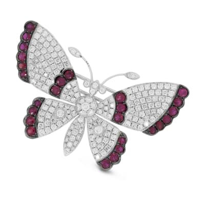 2.38 ct. t.w. Diamond and 1.50 ct. t.w. Ruby Butterfly Pin in 18kt White Gold