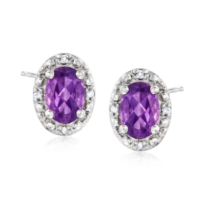 .90 ct. t.w. Amethyst Stud Earrings with Diamond Accents in Sterling Silver