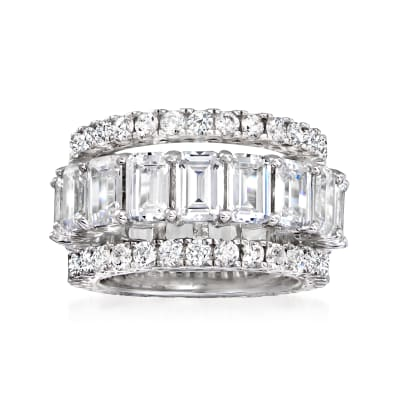 11.65 ct. t.w. CZ Jewelry Set: Three Eternity Bands in Sterling Silver
