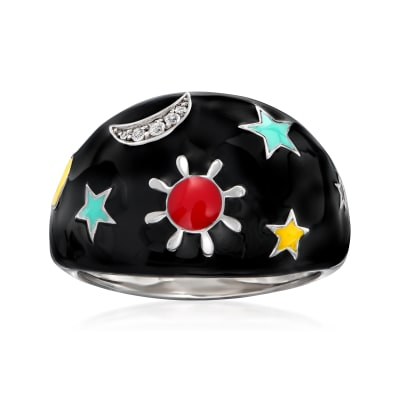 Multicolored Enamel Celestial Ring with White Topaz Accents in Sterling Silver